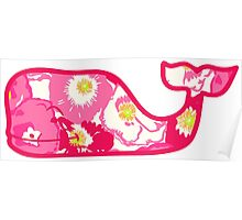 Lilly Pulitzer Whale Cherry Begonias Poster