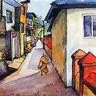 landscape watercolor Indian village by OlgaBerlet