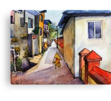 landscape watercolor Indian village Canvas Print