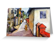 landscape watercolor Indian village Greeting Card