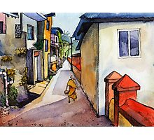 landscape watercolor Indian village Photographic Print