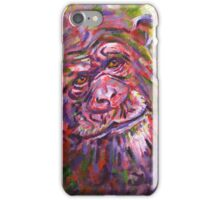 Acrylic painting, Chimpanzee endangered animal art iPhone Case/Skin