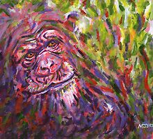Chimpanzee endangered animal painting by Marion Yeo