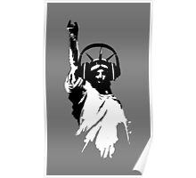 Lady Liberty with DJ Headphone Poster
