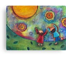 Children and the Moon  Canvas Print