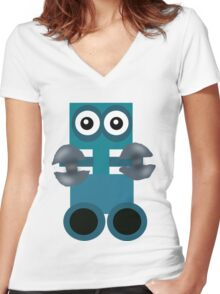 Cute Robot Women's Fitted V-Neck T-Shirt