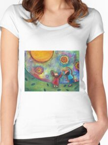 Children and the Moon  Women's Fitted Scoop T-Shirt