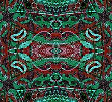 Tribal Ornament Pattern in Red and Green Colors by DFLC Prints