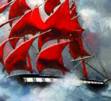 Clipper Ship Indian Queen in Rough Seas (2) - all products Sticker