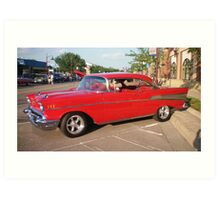 RED 1957 Bel Air Chevrolet Art Print