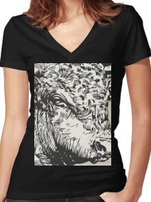 Vintage Beef  Women's Fitted V-Neck T-Shirt