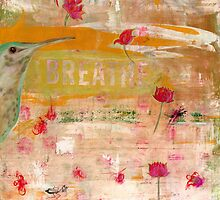 BREATHE inspirational contemporary abstract painting by JodiFuchsArt
