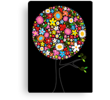 Whimsical Colorful Spring Flowers Pop Tree Canvas Print