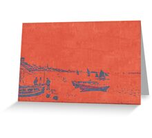 BEACH SCENE IN RED AND BLACK AFTER MONET Greeting Card