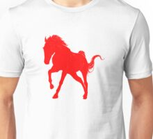 Red Galloping Horse Silhouette Unisex T-Shirt