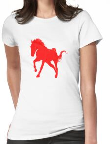 Red Galloping Horse Silhouette Womens Fitted T-Shirt