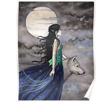 """Night of the Wolf"" Gothic Fantasy Art by Molly Harrison Poster"