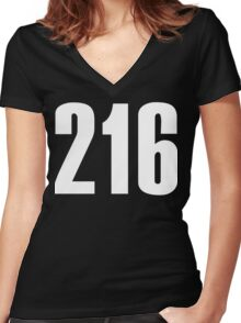 216 Cleveland [White Ink] | Phone Area Code Shirts Stickers Women's Fitted V-Neck T-Shirt