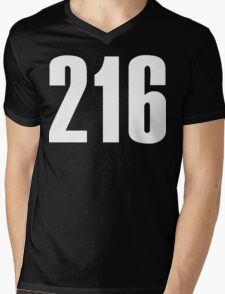 216 Cleveland [White Ink] | Phone Area Code Shirts Stickers Mens V-Neck T-Shirt