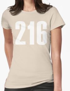 216 Cleveland [White Ink] | Phone Area Code Shirts Stickers Womens Fitted T-Shirt