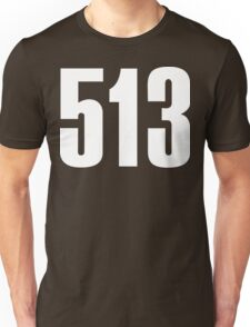 513 Cincinati [White Ink] | Phone Area Code Shirts Stickers Unisex T-Shirt