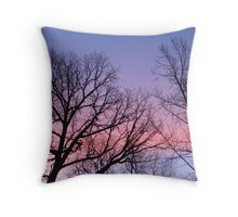 Wonderful Colorful Sunrise Silhouetted Trees Throw Pillow