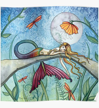 """Down by the Pond"" Mermaid Art by Molly Harrison Poster"