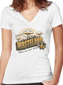 Greetings from the Wasteland! Women's Fitted V-Neck T-Shirt