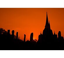 Sunset in Ayutthaya - Thailand Photographic Print