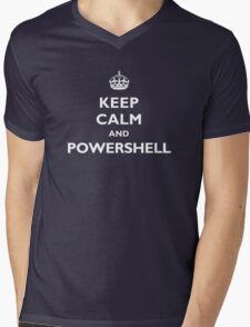 Keep Calm And PowerShell - White Text Mens V-Neck T-Shirt
