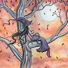 Fall Slumber Witch and Cat in Tree Molly Harrison Fantasy Art by Molly  Harrison