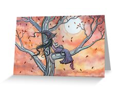 Fall Slumber Witch and Cat in Tree Molly Harrison Fantasy Art Greeting Card