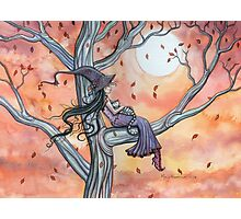 Fall Slumber Witch and Cat in Tree Molly Harrison Fantasy Art Photographic Print