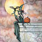 Batty Cat Witch Halloween Fantasy Art by Molly Harrison by Molly  Harrison