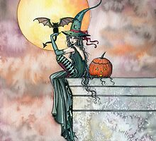 Batty Cat Witch Halloween Fantasy Art by Molly Harrison by Molly  Harrison
