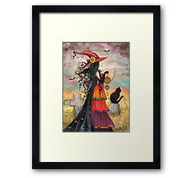 Witch Way Halloween Witch and Black Cat Fantasy Art Framed Print