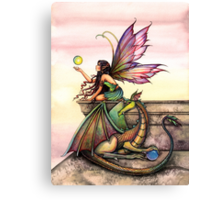 Dragons Orbs Fairy and Dragon Art by Molly Harrison Canvas Print