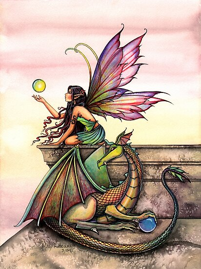 Dragons Orbs Fairy and Dragon Art by Molly Harrison by Molly  Harrison