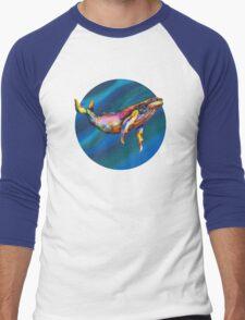 Humpback Bright on Pool of Blue Men's Baseball ¾ T-Shirt