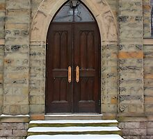Grace Church Door in Winter by marybedy