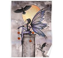 Autumn Raven Fantasy Gothic Fairy and Ravens  Poster