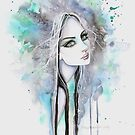 Green Eyed Ghost Gothic Girl Fantasy Abstract Art by Molly  Harrison