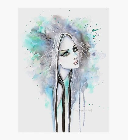 Green Eyed Ghost Gothic Girl Fantasy Abstract Art Photographic Print