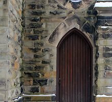 Grace Church Side Door in Snow by marybedy