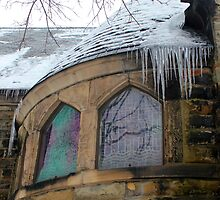 Grace Church Window with Ice 2 by marybedy