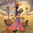 October Fields Halloween Witch and Scarecrow Fantasy Art by Molly  Harrison