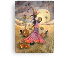 October Fields Halloween Witch and Scarecrow Fantasy Art Metal Print