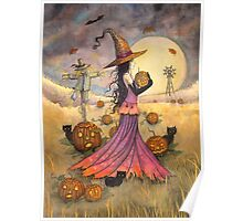 October Fields Halloween Witch and Scarecrow Fantasy Art Poster