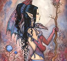 Dragon Girl Gothic Fantasy Art by Molly Harrison by Molly  Harrison