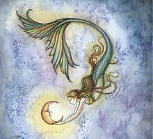 Deep Sea Moon Mermaid Fantasy Art Illustration by Molly  Harrison
